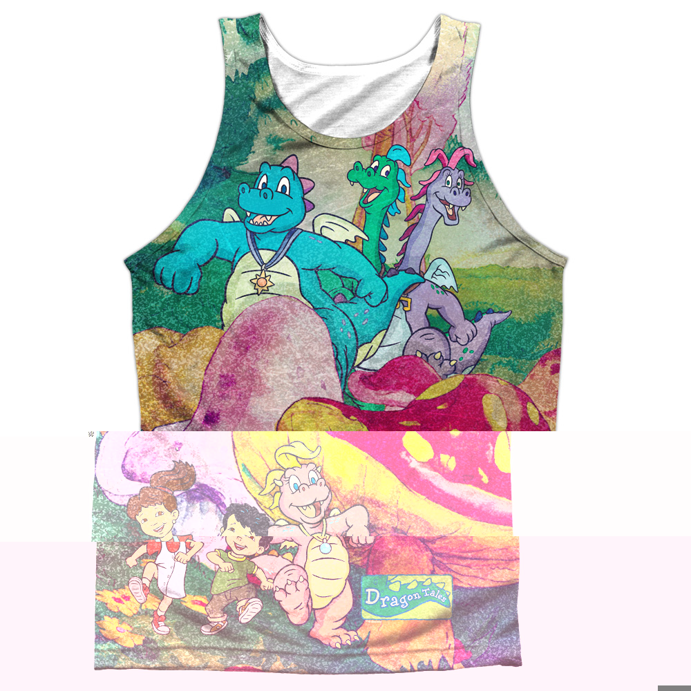 Dragon Tales Mushroom Meadow (Front Back Print) Mens Tank Top Sublimation Shirt
