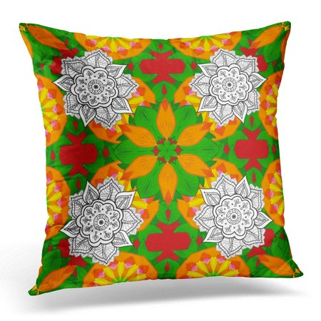 ARHOME Modern Flourish Orange Green and White with Vintage Line Tracery Paisley Flowers Flowery Ornaments Floral Pillow Cover 16x16 Inches Throw Pillow Case Cushion Cover
