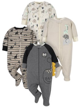 Gerber Baby Boy Organic Sleep 'N Play Pajamas, 4-Pack