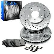 Front eLine Drilled Slotted Brake Rotors & Ceramic Brake Pads FEC.42005.02