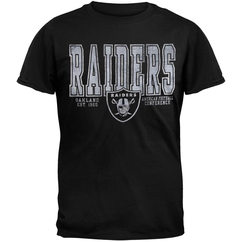 Oakland Raiders - Flanker Black Premium Adult T-Shirt - 2X-Large