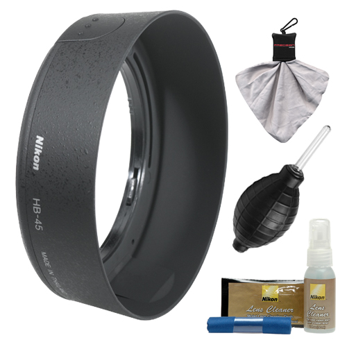 Nikon HB-45 Bayonet Lens Hood for Nikon 18-55mm VR DX AF-S Zoom-Nikkor + Cleaning Kit (with D40, D60, D90, D3000, D3100, D5000 & D7000 Digital SLR Camera)