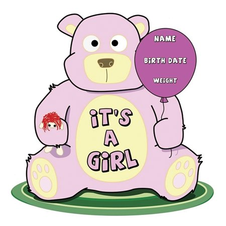 Advanced Graphics ItS A Girl Teddy Bear Lifesize Wall Decor Cardboard Standup Cutout Standee Poster - Photo Stand Ins Cutouts