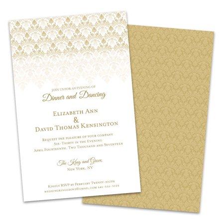Gold Damask Personalized Wedding Reception Invitations