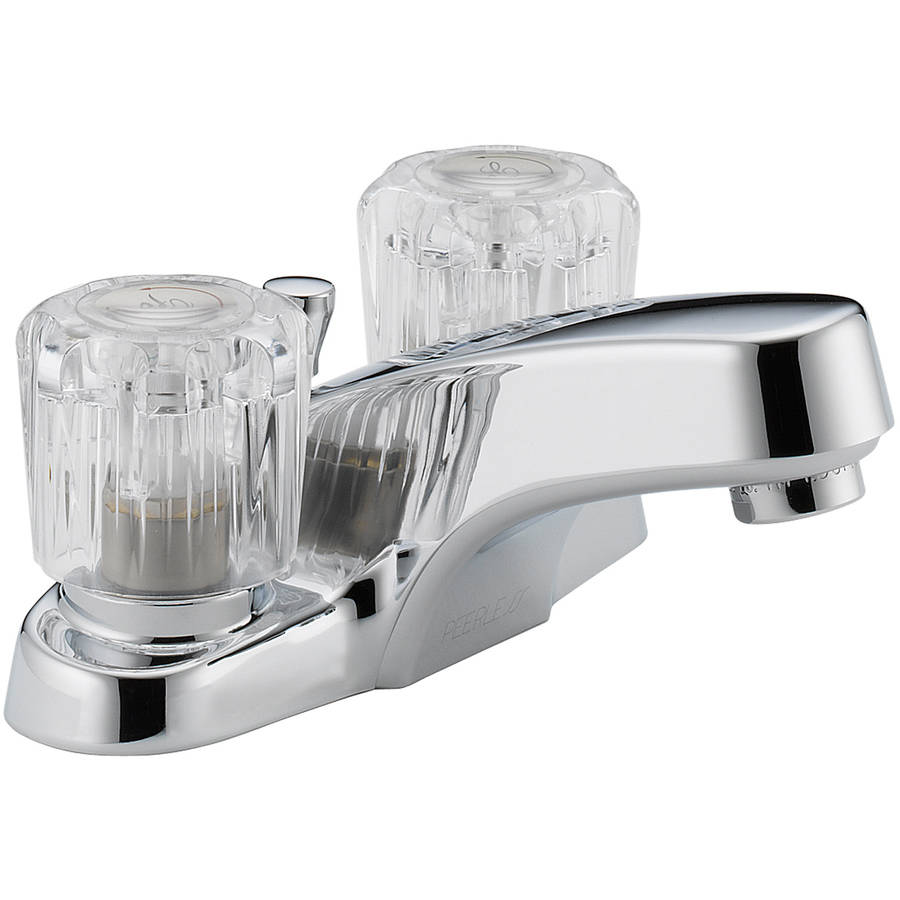 Peerless P299621LF Chrome 2-Handle Lavatory Faucet with Acrylic Handles