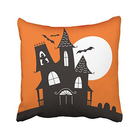 WinHome Decorative Pillowcases Cute Haunted House Halloween Throw Pillow Covers Cases Cushion Cover Case Sofa 18x18 Inches Two - Cute Halloween Cover Photos