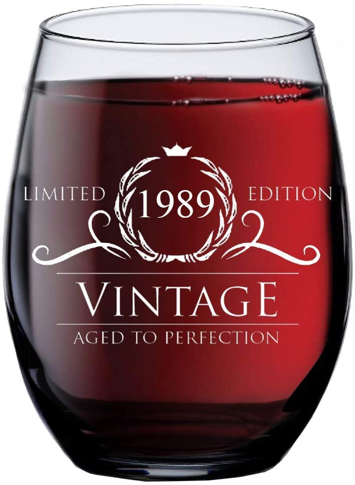 Vintage Aged To Perfection 1989 31st Birthday Funny Gift Wine Glass
