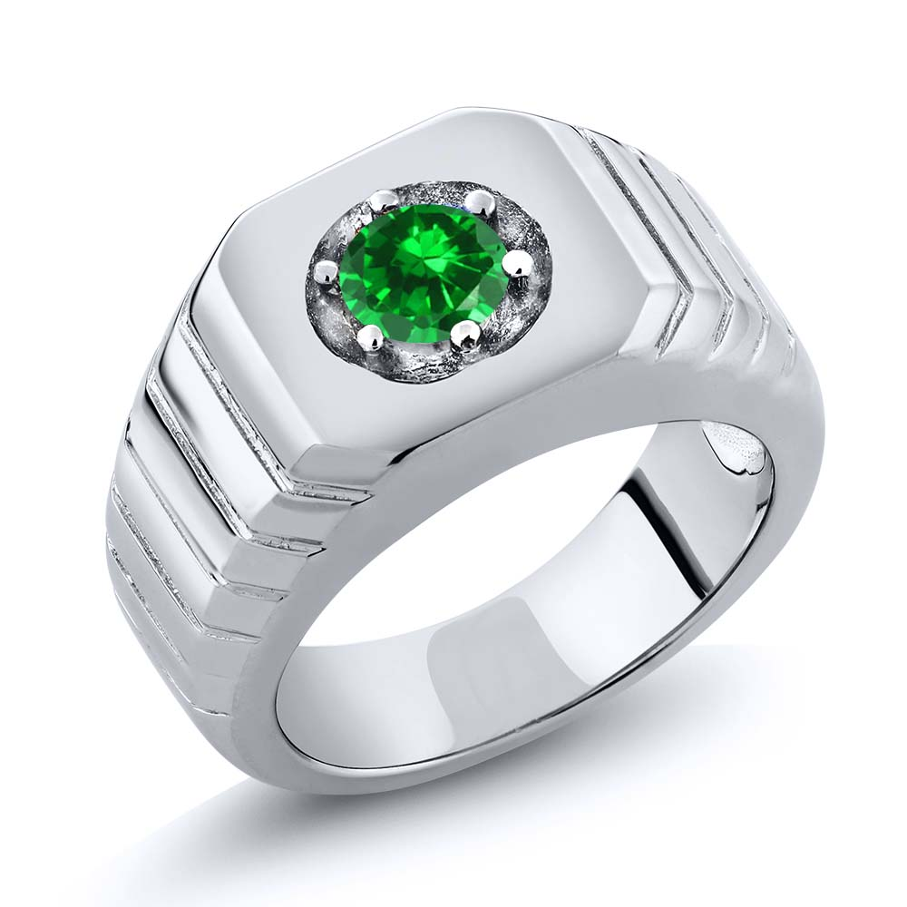 0.84 Ct Round Green VS Simulated Emerald 14K White Gold Men's Solitaire Ring