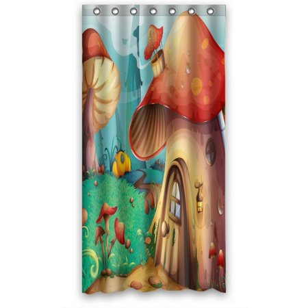 Ganma Sweet Kids Cute Fairy Tale Shower Curtain Polyester