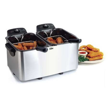 Elite Gourmet Dual Deep Fryer, 2 x 4 qt, White