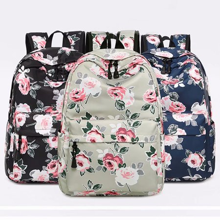 da7443da0aec School Backpack,Akoyovwerve Waterproof Flower Printed Canvas Casual  Backpack Laptop Backpack Travel School Bag for Women Girls,Black