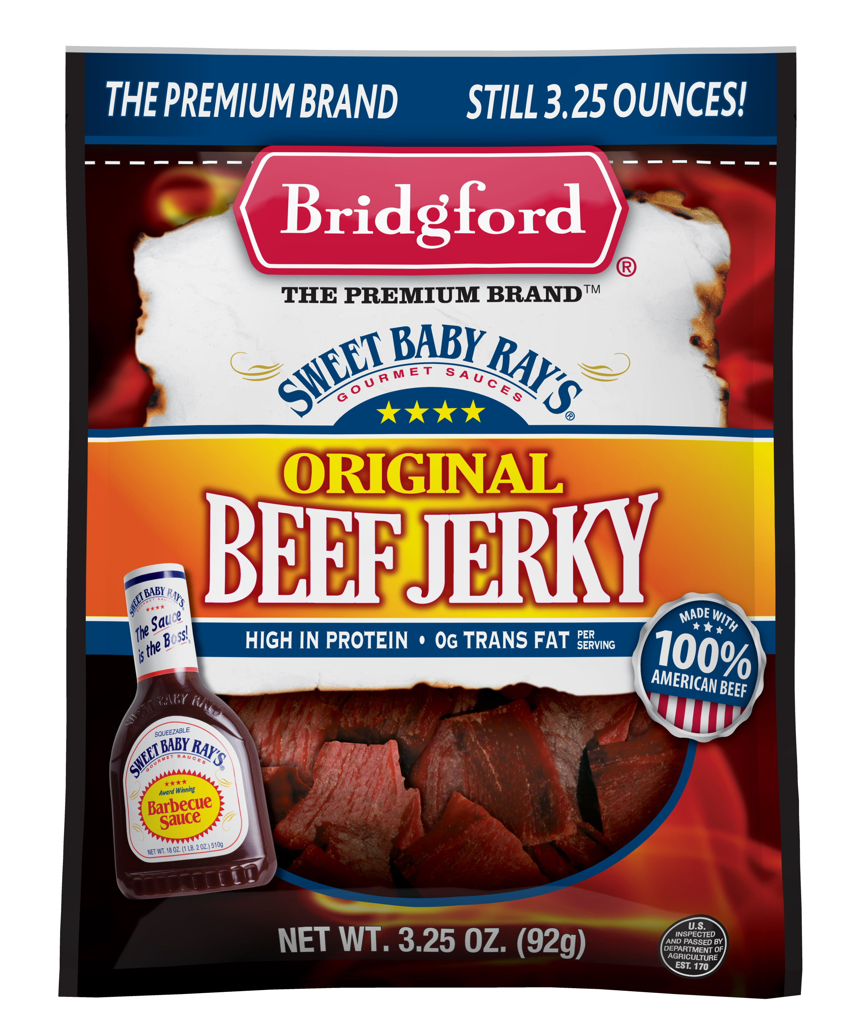 Sweet Baby Ray's Beef Jerky Original, 3.25 OZ by Bridgford Foods Corporation