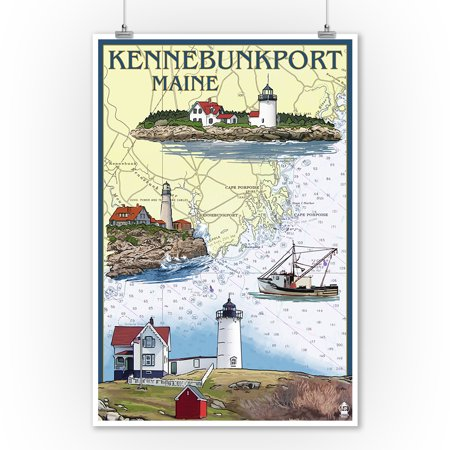 Kennebunkport, Maine - Nautical Chart - Lantern Press Artwork (9x12 Art Print, Wall Decor Travel Poster) ()