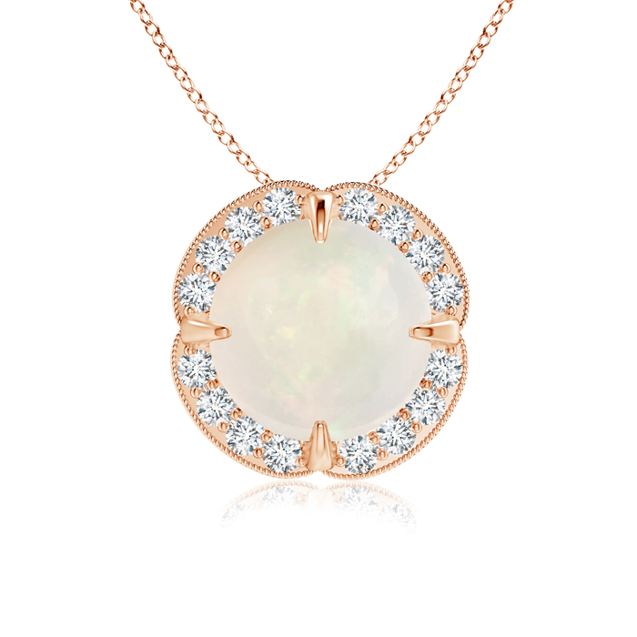 Mother's Day Jewelry Necklace Claw Set Opal Clover Necklace Pendant with Diamond Halo in 14K Rose Gold (8mm Opal)... by Angara.com