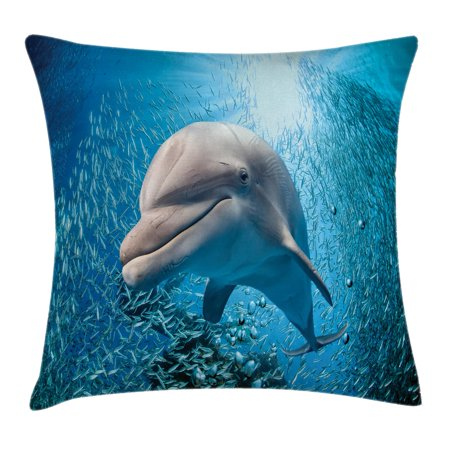 Sea Animals Decor Throw Pillow Cushion Cover, A Bottlenose Dolphin in Ocean Fish Sunlight in Marine Natural Underwater, Decorative Square Accent Pillow Case, 18 X 18 Inches, Blue Grey, by Ambesonne