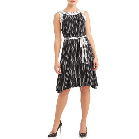 Flocked Dot Dress - Women's Polka Dot Swing Dress