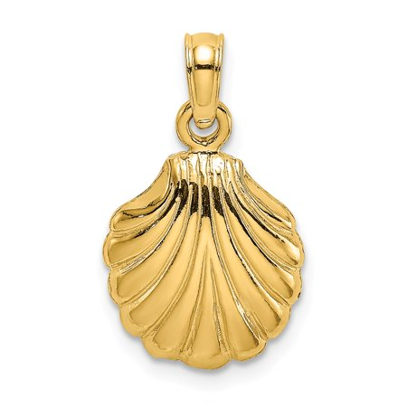 14k Yellow Gold 2-D Solid Polished SCALLOP SHELL Charm