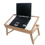 Ktaxon Wood Adjustable Lap Table/Bed Tray, White Melamine and Beechwood