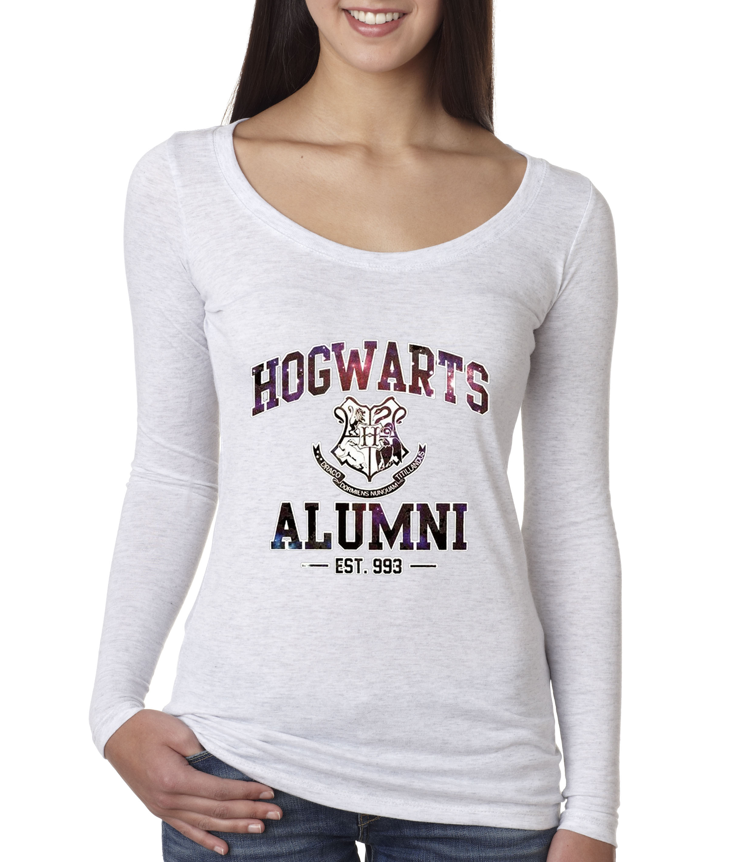 9193a7d8 New Way 214 - Women's Long Sleeve T-Shirt Hogwarts Alumni Galaxy Harry  Potter