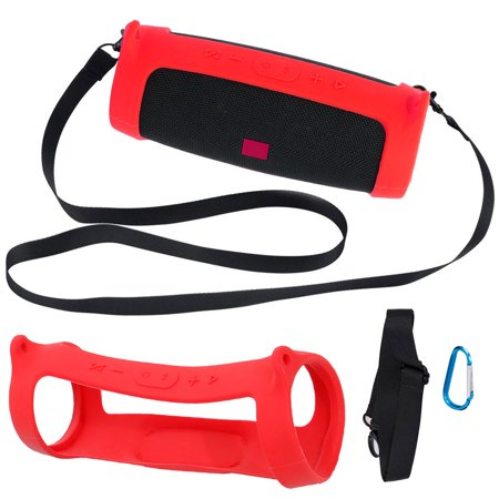 TSV Silicone Carrying Travel Case for JBL Charge 4 Bluetooth Portable Stereo Speaker with Shoulder Strap and Carabiner for Easy Carrying (Black/Red)