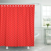 CYNLON Blue Color Red Abstract Polka Dot White Circle Colorful Bathroom Decor Bath Shower Curtain 60x72 inch