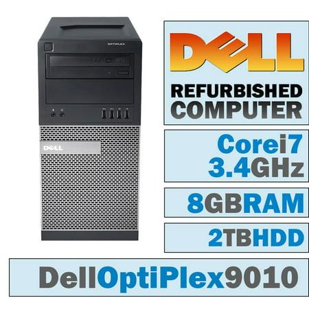 25g Tower (REFURBISHED Dell Optiplex 9010 Mini Tower, Core i7-3770 @ 3.4 GHz, 8GB, 2TB, Windows 10 Pro, WiFi, HDMI )