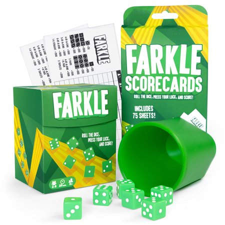 Farkle Game Bundle with Dice Cup, 6 Dice, 100 Scorecards, and Storage - Dice Rolling Box