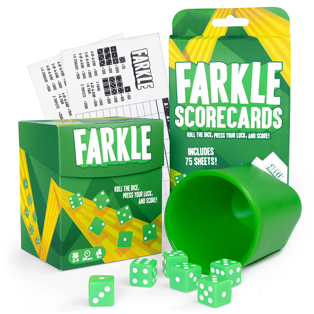 Farkle Game Bundle with Dice Cup, 6 Dice, 100 Scorecards, and Storage Box