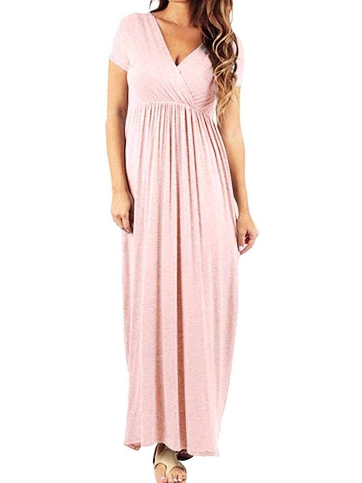 Mersariphy Mersariphy Women Solid Color V Neck Short Sleeve Maxi Dress For Pregnant Walmart Com Walmart Com