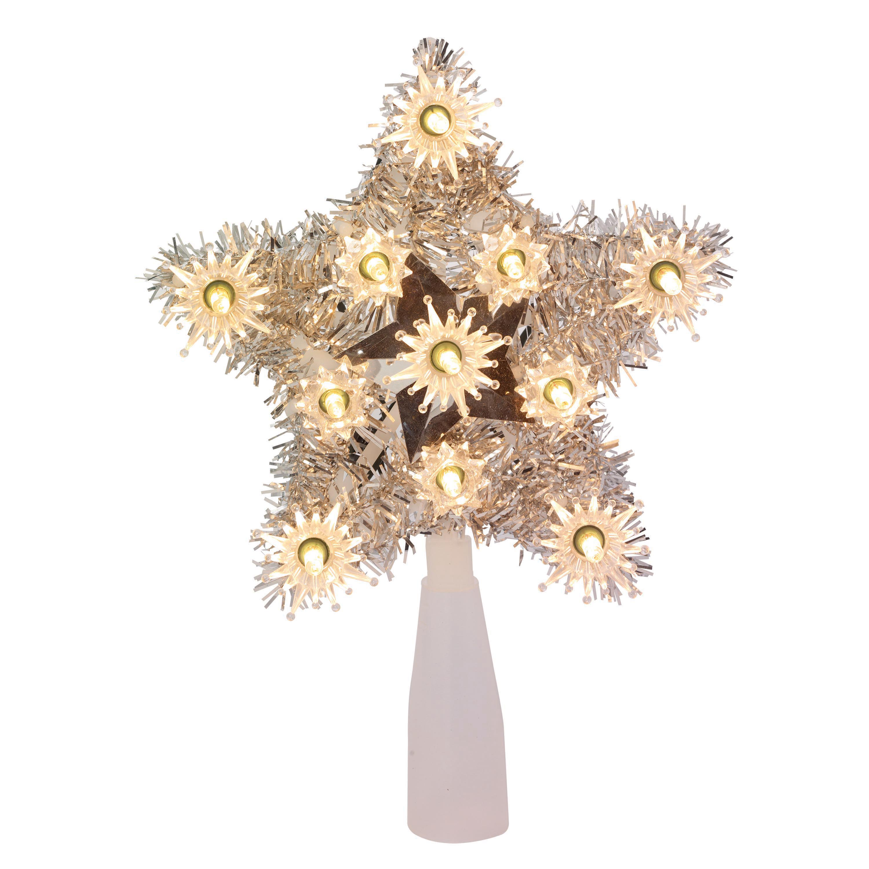 "Holiday Time Christmas Ornaments 6"" 11 UL Silver Tinsel Star Tree Topper with Clear Bulbs"