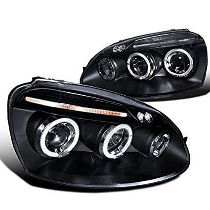 Spec-D Tuning LHP-GLF05JM-TM Volkswagen Golf Rabbit Jetta Black Dual Halo Led Projector Head -