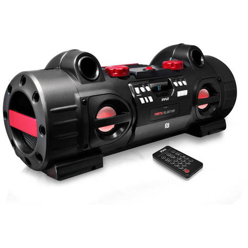 Pyle Party Blaster Boombox, BT & NFC Streaming, USB SD MP3 FM Radio, Aux (3.5mm) Input, CD Player, Party... by Pyle