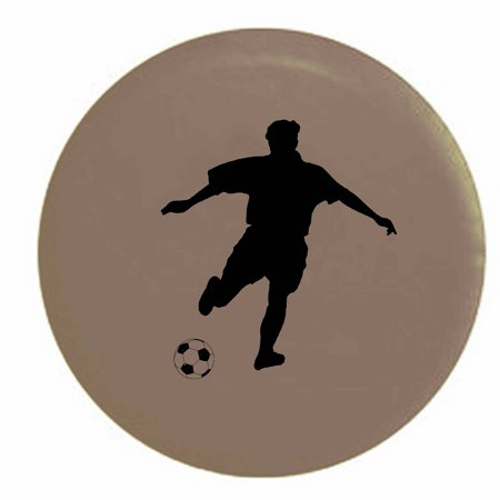 Soccer Player Kicking Ball Trailer Spare Tire Cover Vinyl Tan-BlackInk 29 in ()