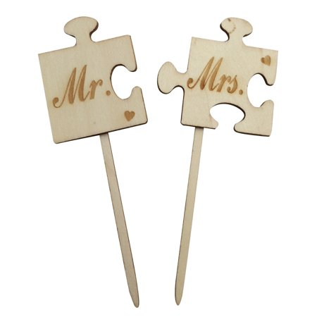 1 set Puzzle Wood Mr Mrs Wedding Cake Topper Cake Stand Wooden Wedding Cake - Mrs Cake