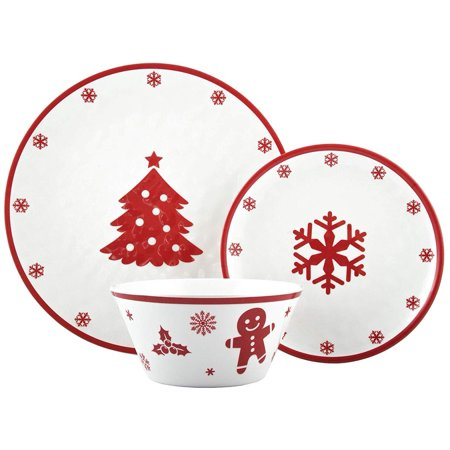 Melange 608410091689 12-Piece 100% Dinnerware Set for 4 Christmas Collection-Red Xmas Shatter-Proof and Chip-Resistant Melamine Dinner Plate, Salad Plate & Soup Bowl (4 Each), 10.5