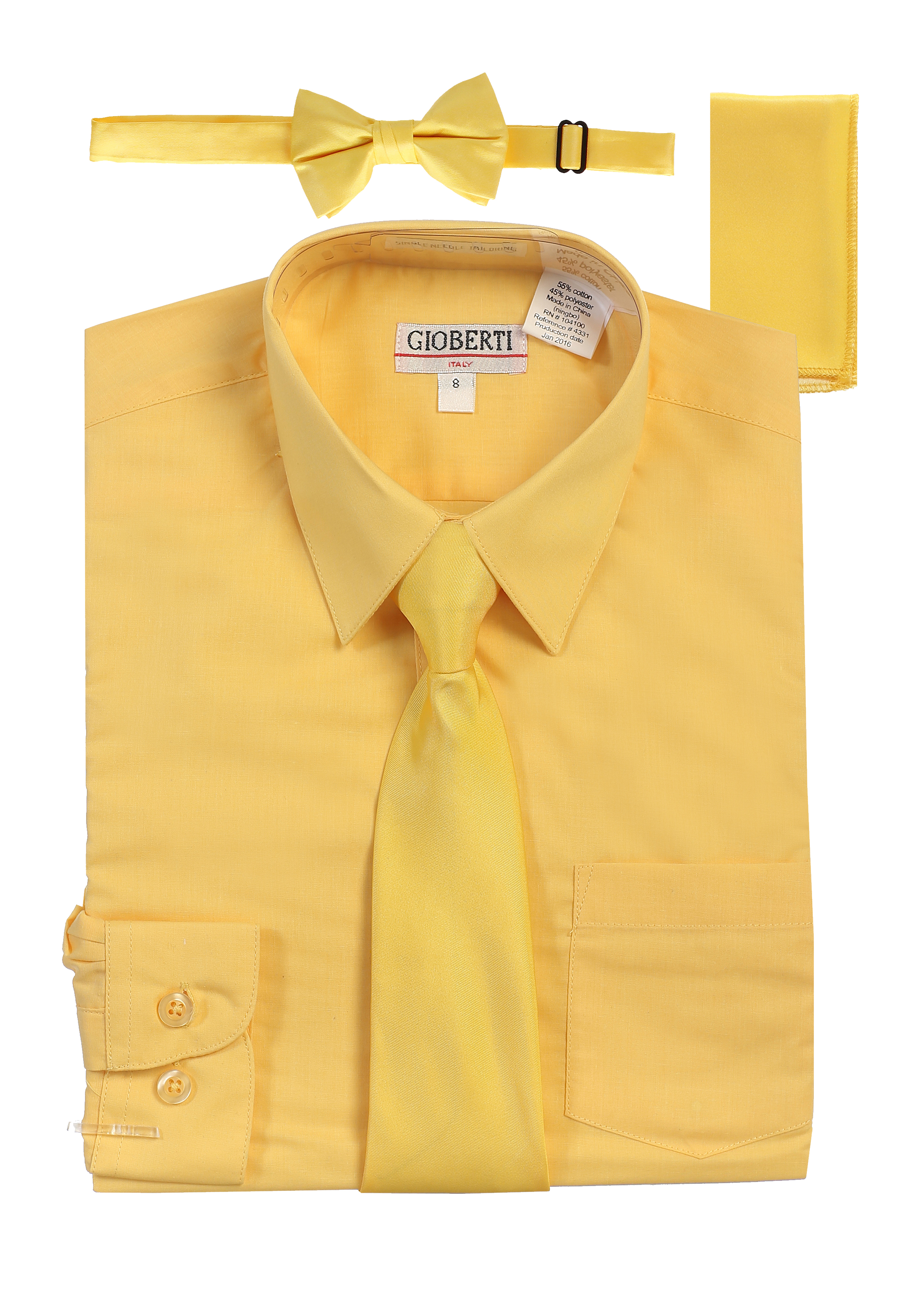 Gioberti Boy's Long Sleeve Dress Shirt + Solid Zippered Tie Set