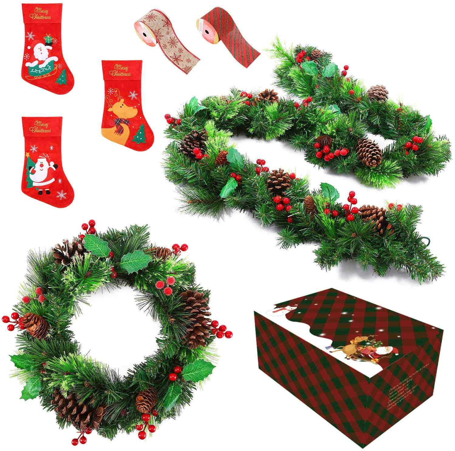 Christmas Fireplace Door Decor Set With 16 Xmas Wreath And 83 Pine Berries Garland Hanging Stockings Felt Ribons Whole Decoration Economical Pack Xmas Fireplace N Door Decor Walmart Com Walmart Com