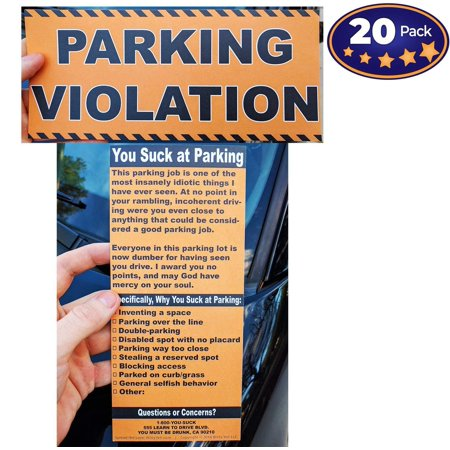 Full-Size Fake Parking Ticket by Witty Yeti 20 Pack. Both Realistic & Hilarious. Punish the Idiots Who Park Like Aholes. Hilarious Prank, Gag Gift & Stocking Stuffer. It's Time for Justice! - Realistic Fake Hand