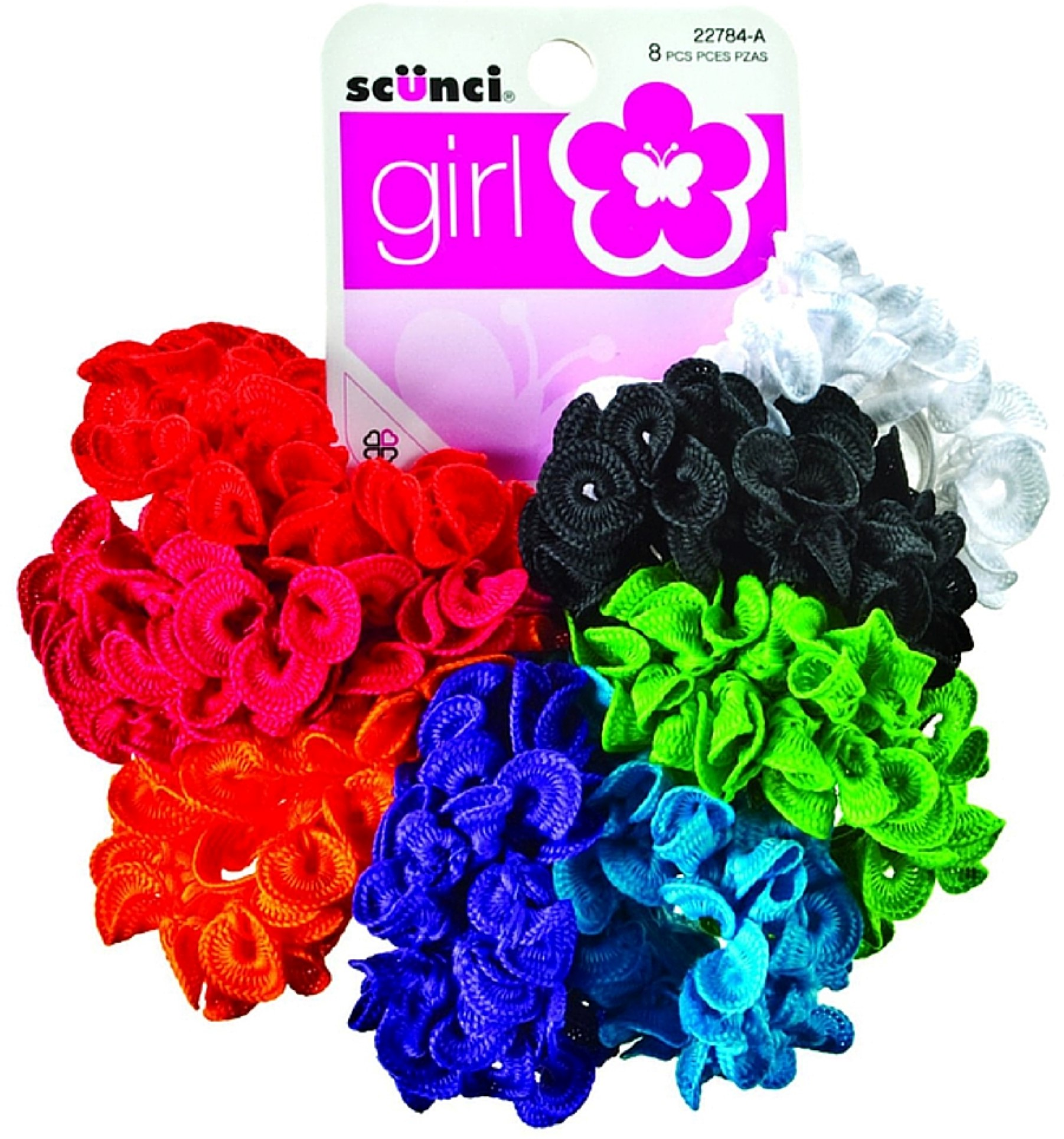 Scunci Girl Hair Scrunchies, Assorted 8 ea (Pack of 3)