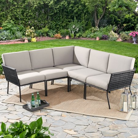 Mainstays Dagna 5-Piece Patio Sectional Set with Gray Cushions & Mainstays Dagna 5-Piece Patio Sectional Set with Gray Cushions ...