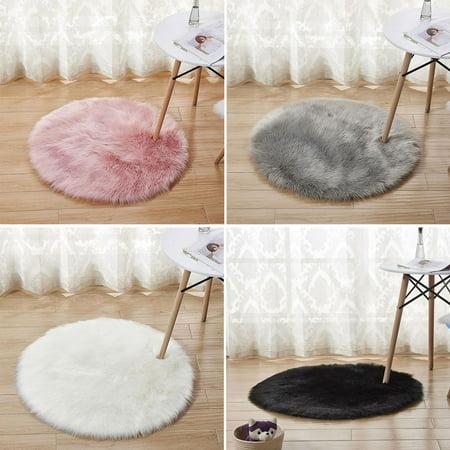 90 90cm Simple Imitated Wool Round Room Carpet Nursery Rug Area White