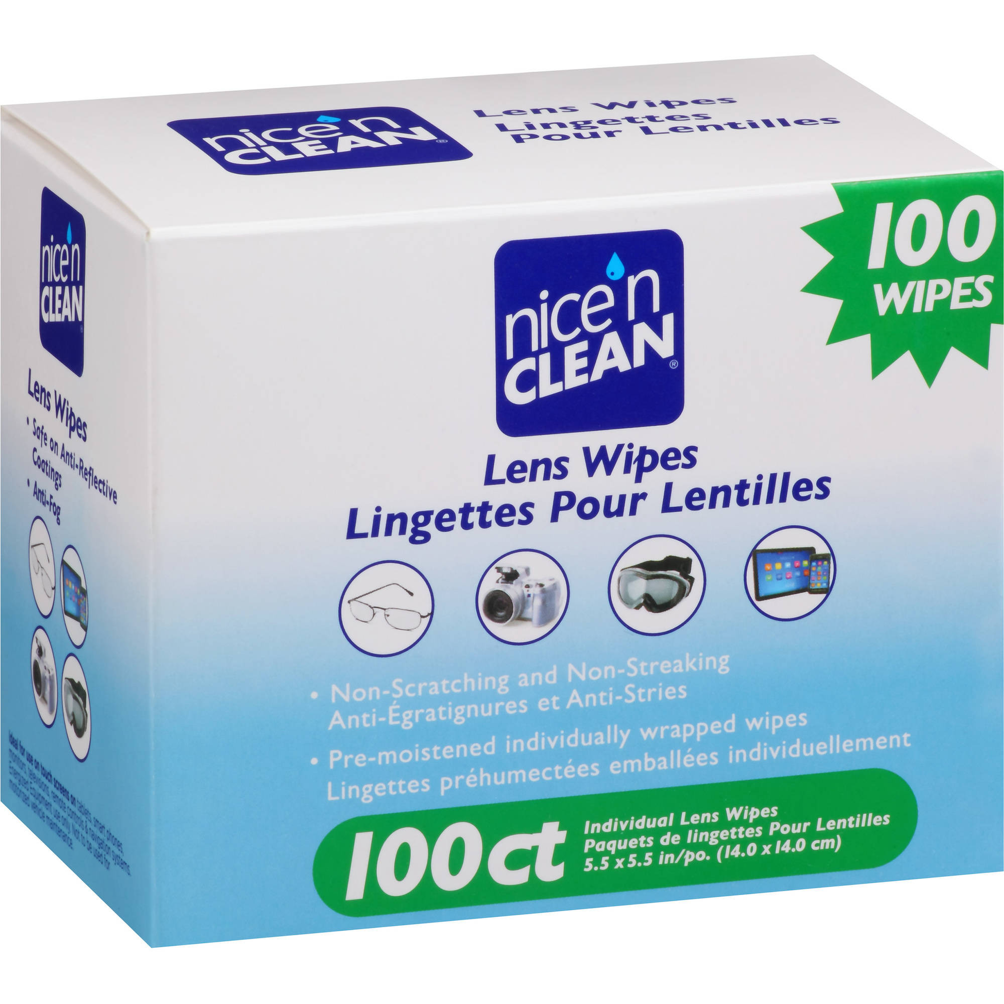 Nice 'N Clean Lens Wipes, 100 count