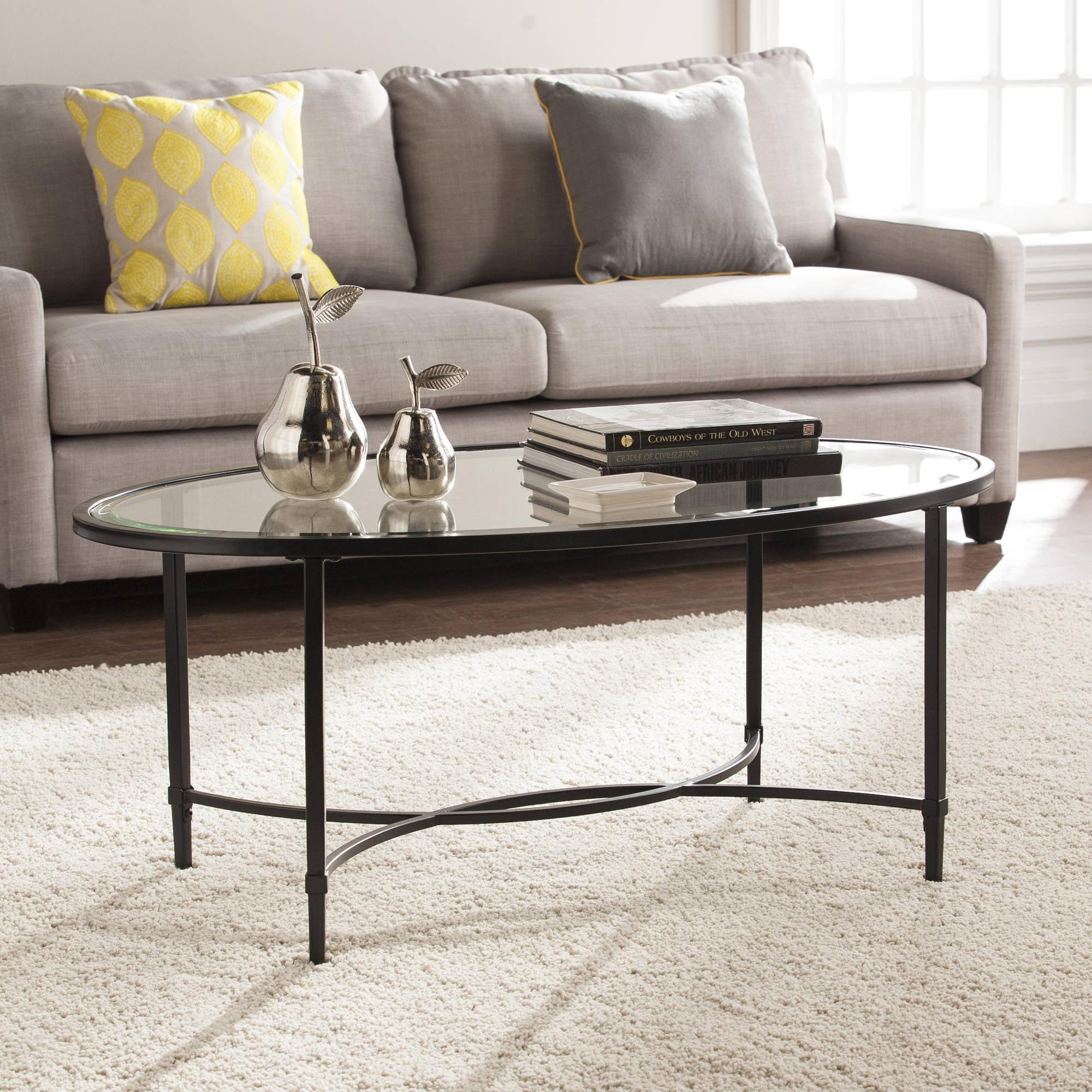 Southern Enterprises Quibilah Metal/Glass Oval Coffee Table