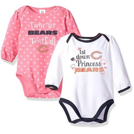 NFL Chicago Children Girls 2 Pack Long Sleeve Bodysuit, 18 Months, Bears