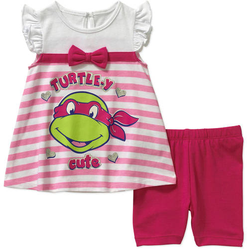 Teenage Mutant Ninja Turtles Newborn Baby Girl License Fashion Knit Top with Bike Short Set - 2 Pieces