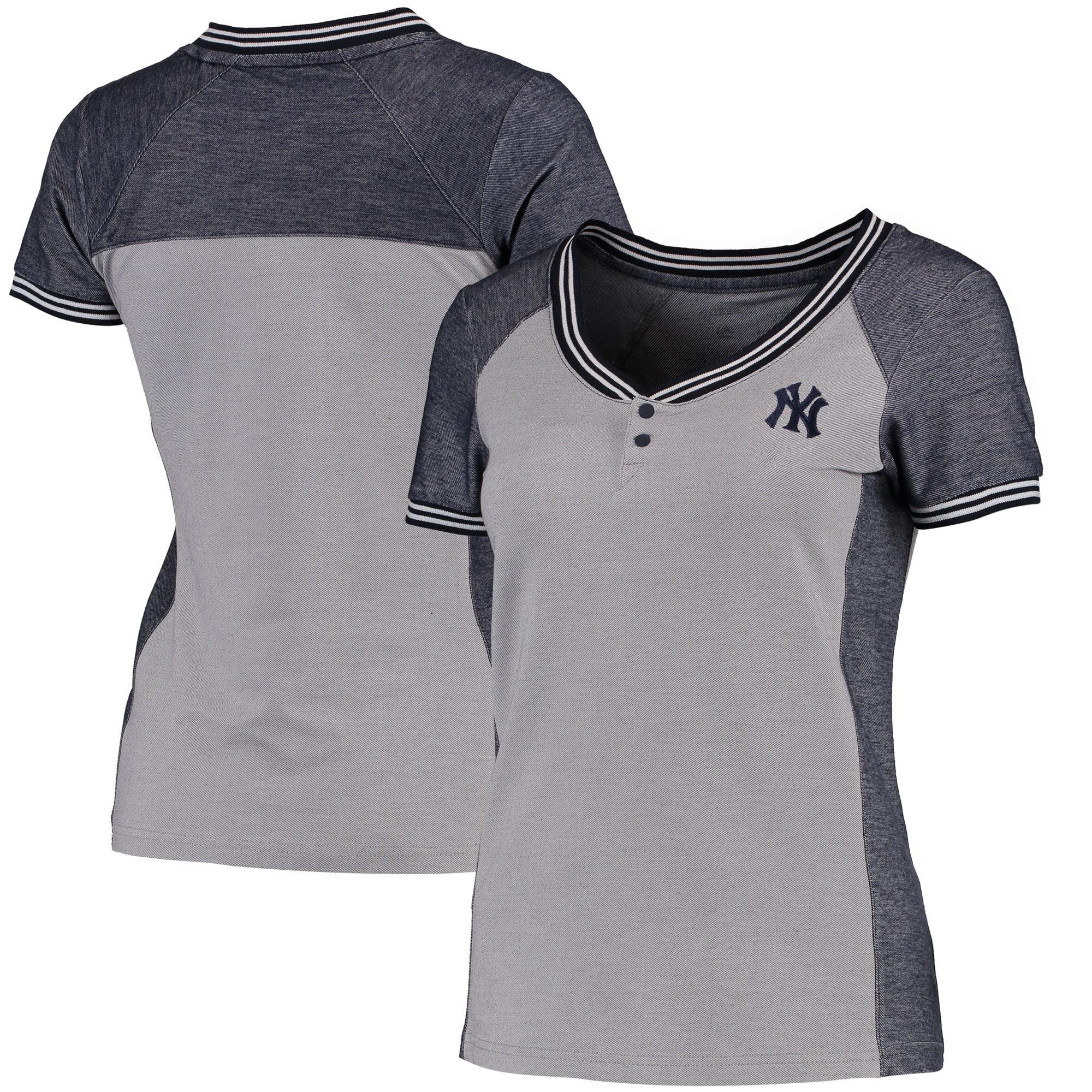 New York Yankees Antigua Women's Quick Henley T-Shirt - Gray/Navy