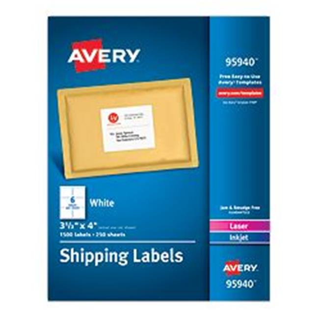 Avery-Dennison 95930 White Shipping Labels, Laser or Inkjet, White - 5.5 x 8.5 in.