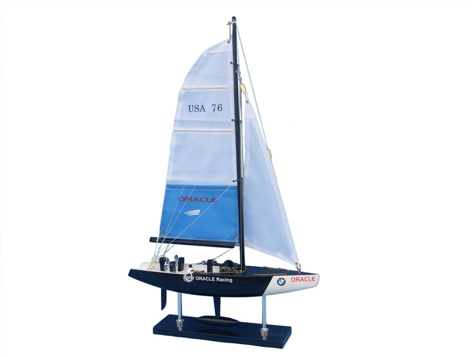 """BMW Oracle 23"""" Wood Americas Cup Model Ship Wood Yacht Model Model Sailing Boat Model Yacht Nautical Home Decoration Wood Sailboat... by Handcrafted Nautical Decor"""