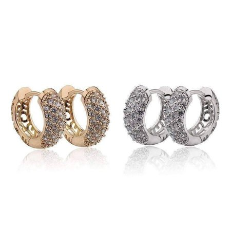 ON SALE - OB Youthful Collection - Petite Diamond Pave Platinum or 18K Yellow Gold Filigree Hoop Earrings Get Them Both - Discou Comfort Fit Platinum Earrings