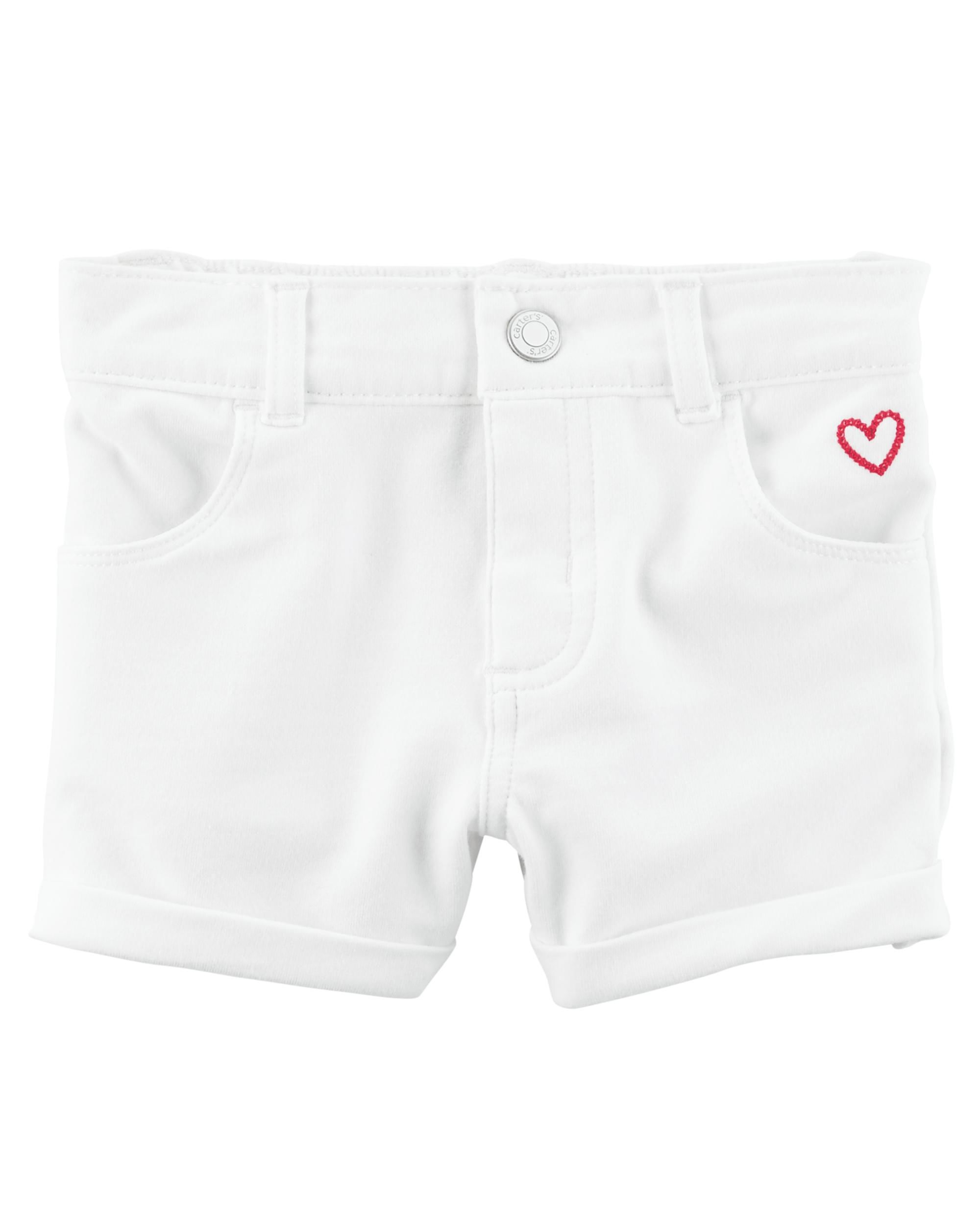 Carter's Baby Girls' Stretch Skimmer Shorts- White